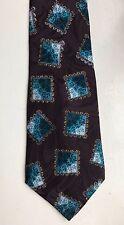 Men's Tie 100% Silk Maroon Brown Blue Teal Square Design Gold Necktie Classic