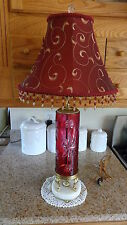 Vintage Cranberry Flash Cut Glass Table Lamp/Hollywood Regency Traditional