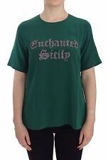 NUEVO CON ETIQUETA DOLCE & GABBANA Verde Enchanted SICILY Blusa De Seda Camiseta