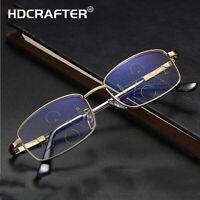 Men Metal Progressive Multi-focus Reading Glasses Anti-blue Light Glasses New