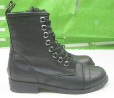 "New Ladies Black 1"" Heel Round Toe Side Zip Sexy Combat Ankle Boot Size 7"