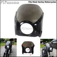 """Motorcycle 5.75"""" Headlight Fairing Front Windshield For Harley Sportster Softail"""
