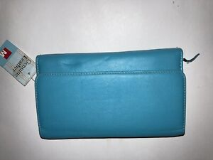 Teal Blue Leather Trifold Snap Zip wallet organizer Checkbook Lots Of pockets!
