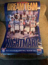Vintage 1992 Kraft USA Olympic Basketball DREAM TEAM Poster Jordan Bird Johnson