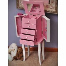 Mele Designs Louisa Girl's Pink and White Wooden Jewelry Armoire