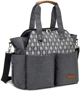 Lekebaby Baby Nappy Changing Bag Satchel Messenger Large Capacity, Arrow, Grey