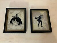 Vintage Art Framed Shadow Silhouette - Set of (2) - Victorian Man & Woman DANCE