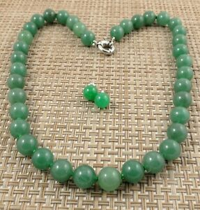 Hand-knotted Large Donlin Jade Nephrite Beaded Necklace & Brass Jade Studs  21''