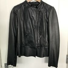 ZARA SIZE M LADIES BLACK SUPER SOFT LEATHER ZIP UP JACKET FULLY LINED EX CON