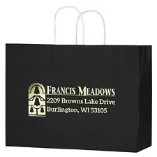 100 Custom Gloss Color Twisted Paper Handle Shopper Bag Foil Stamp w/ logo /Text
