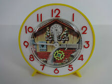Vintage Childrens Animated Alarm Clock Round Wind Up Brazilian Yellow White Red