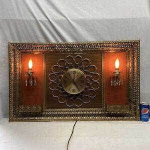 Vtg Mid-Century OVER THE COUCH Clock Prism Light Planter Metal Filigree Frame