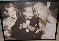 "Framed Textured  PRINT ""Hollywood Triangle""Monroe Bacall Bogart 33""X25"""