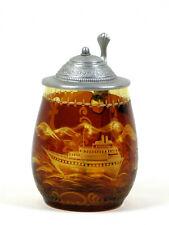 Egermann Böhmisches Glas geschliffnes Bierglas m. Zinndeckel Seefahrt Motive