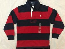 BNWT BOYS POLO RALPH LAUREN RED & NAVY BOLD STRIPE RUGBY TOP SHIRT SIZE 7-8 YRS
