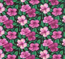 Sunburst Tropical small Hibiscus pink on black fabric 50x56cm F893-5 100% Cotton