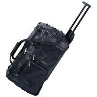 "NEW 21"" Genuine Leather Rolling Duffle Bag.Black Travel Luggage.Baggage.Trolley."