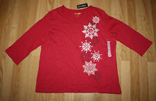 NWT Womens GREENSOURCE Red Snowflake Print 3/4 Sleeve Shirt Size L Large