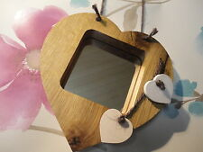 HEART MIRROR SIGN CHRISTMAS WOODEN OAK HOUSE/SHED/GARDEN/GIFT QUALITY WOOD ART