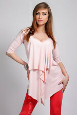 """Unique Ladies Dress """"Waterfall"""" Tunic Style Blouse Top One Size 8-12 FT147"""
