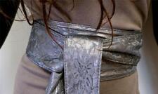 Japanese Kimono Flower Pattern Lace Sash Tie Waist Wrap Corset Wide Gray Belt