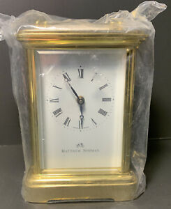 Matthew Norman Brass Carriage Clock 1754 CC Swiss Made Case & Key Included NEW!