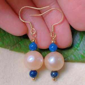 Natural pink freshwater Baroque pearl blue jade beads gold earrings Party