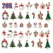 XMAS CRAFTS CHARMS X6 CHRISTMAS TREE ENAMEL COATED METAL PENDANTS