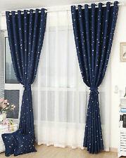 Kids Room Solution   2 X Blockout Eyelet Curtains 130cm X 230cm (Drop) Blue  Star
