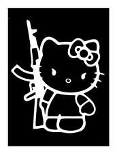 HELLO KITTY AK-47 WOMAN SOLDIER MILITARY 5X6 VINYL IPAD CAR WINDOW DECAL STICKER