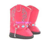 Red Western Gem Cowgirl Boy Boots 18 in Doll Clothes Fit American Girl Dolls