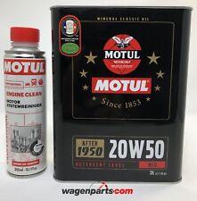 Aceite coches Clásicos 1950-70 Motul Classic SAE 20w50 2 litros Engine Clean
