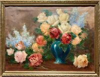 Original Antique Oil Painting On Canvas, Still life, Roses, Unsigned, Framed