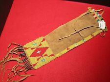 "NATIVE AMERICAN BEADED LEATHER PIPE BAG, INDIAN SACRED ""CHANUPA""  BAG, DU-00065"