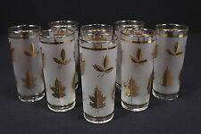 8 Golden Foliage Libbey Coolers Or Collins Tumblers Mid Century Drinkware 16 Oz