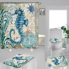 Blue Seahorse Art Shower Curtain Bath Mat Toilet Cover Rug Bathroom Decor