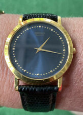 Vintage Running New Battery Seiko quartz Gold tone Blue Face Watch