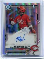 2021 Bowman Chrome Prospects Auto Refractor Mac Wainwright /499 - Reds