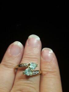 10k Yellow Gold 6mm Double Trillion Cut Natural Aquamarine W/0.032ct Diamonds