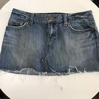 American Eagle Blue Jean Mini Skirt 10 Denim Distressed Cotton Frayed Hem Pink