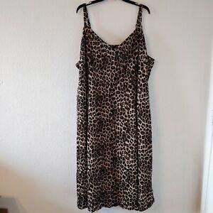 Torrid 5X Leopard Animal Print Challis Asymmetrical Button Front Dress New NWT