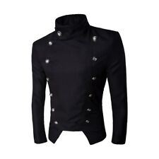 Mens Casual Trench Coat Jacket Double Breasted High Neck Slim Fit Short Jacket