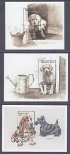 Burkina Faso MNH 1999 3 Different Mini Sheets Dogs & Puppies Very Fine
