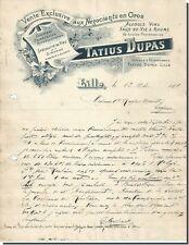 Lettre - Tatius Dupas Alcools Vins Eaux de vie & Rhums à Lille 1900