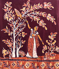 Batik Fabric Piece Wall Hanging Mughal Maiden Tropical Bird Scene 78x46 Raw Edge