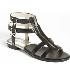 Michael Kors Women's Black Kennedy Flat Leather Gladiator Sandal 1886 Size 5.5M