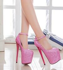 Women's Sexy Platform Glitter Round Toe Strappy 20cm Heel Stilettos Pumps Shoes