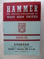 1970 WEST HAM UNITED v EVERTON, 5th Sept (League Division One)