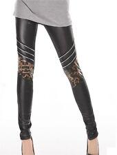 Sexy Black Wetlook Leopard Leggings Tight Pants Chic Fashion Ladies XS S 6 8 10