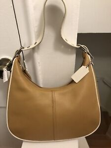 COACH Legacy West Zoe Hobo Shoulder Bag 9342 Tan & Ivory Color Block Leather NWT